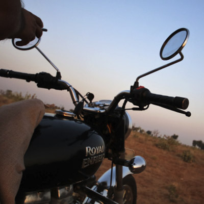 Riding the Royal Enfield motorcycle tour outside Pushkar
